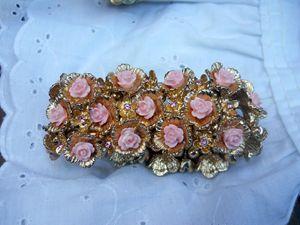 Vintage style Pink Rose Bracelet