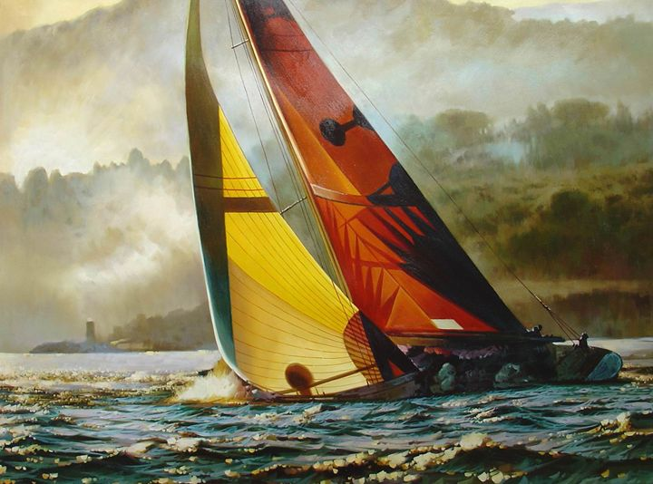 Sailing Boat at Saint-Tropez - Lucia Amitra