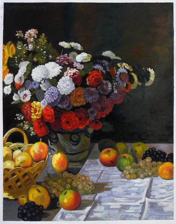 Flowers and Fruits Monet Painting - PaintingMania