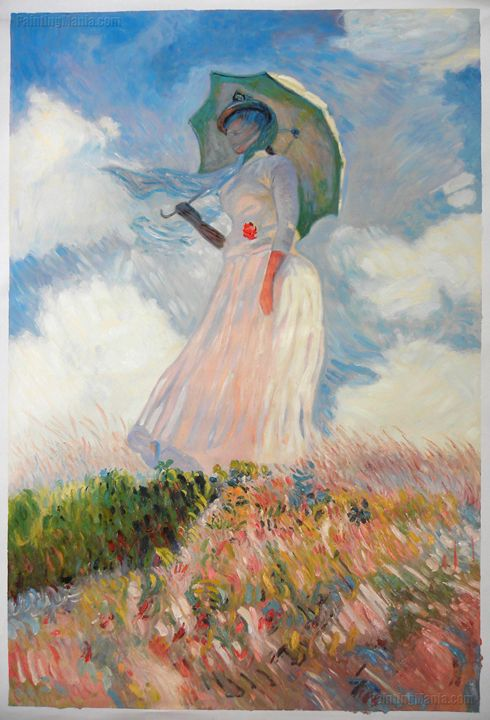 Woman with a Parasol Facing Left - PaintingMania