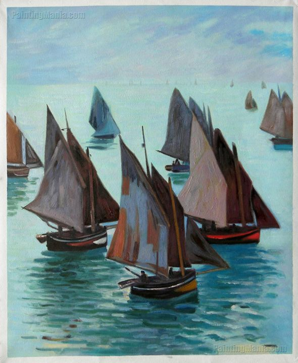 Fishing Boats, Calm Sea Monet art - PaintingMania