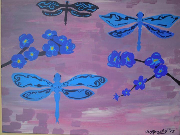 Blue Dragonflies Acrrylic Painting - Murphy Art & Soul