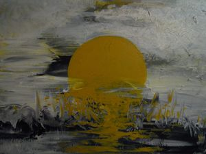 Sunrise Over A Pond Painting