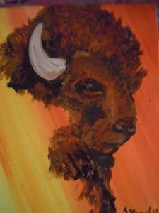 Bullalo Head Oil Painting