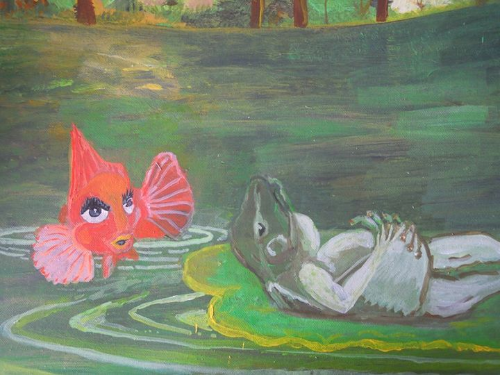 Goldfish and Frog in the pond - Murphy Art & Soul