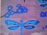Blue Dragonflies Acrylic Painting