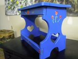 Foot Stool Blue w/ roses and hearts