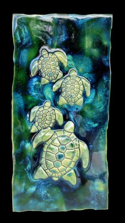 4 Hawaiian Sea Turtles Plaque - Ceramic Designs by Albert