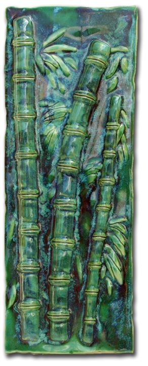 Back-Splash with Bamboo Design - Ceramic Designs by Albert