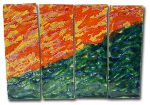 """""""Sunny Hill"""" Abstract 4-panel - Ceramic Designs by Albert"""