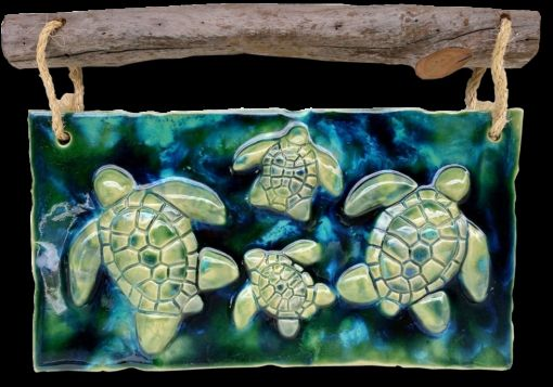 Turtle Wall Art with Driftwood - Ceramic Designs by Albert