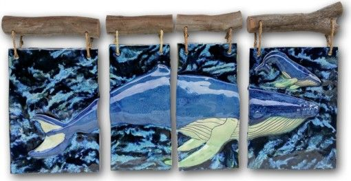 Maui Humpback Whale and Calf 4-panel - Ceramic Designs by Albert