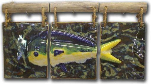 Mahi Mahi Wall Art Tryptic - Ceramic Designs by Albert