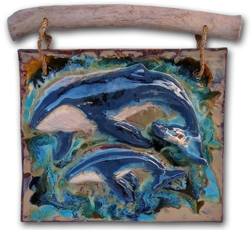 Humback Whale & Calf Wall Art - Ceramic Designs by Albert
