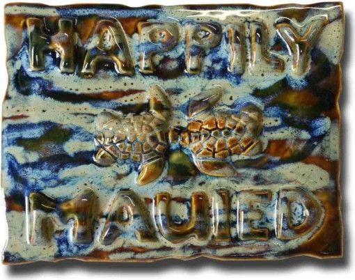 """Happily Mauied"" Plaque - Ceramic Designs by Albert"