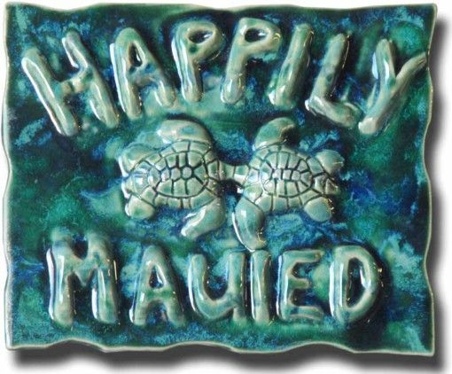 "Blue ""Happily Mauied"" Plaque - Ceramic Designs by Albert"