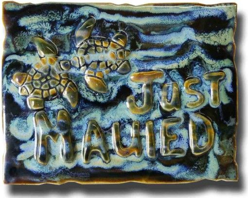 """""""Just Mauied"""" Plaque - Ceramic Designs by Albert"""