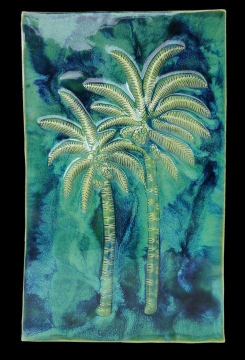 Back-Splash w/Maui Swaying Palm Tree - Ceramic Designs by Albert