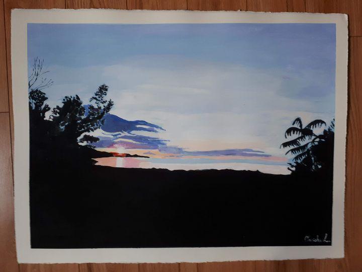 Sunset Silhouette Lakeview - Oneisha's Artworld