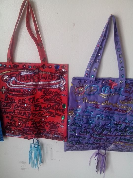 my new designer religious tote bags! - the Purple Queen Gallery.