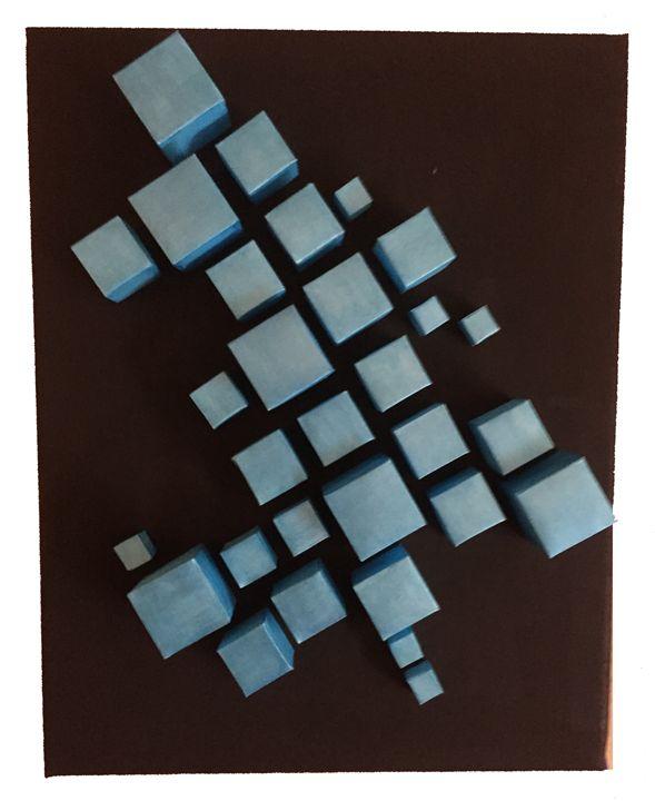 Blue Cubed - 3D Shape Wall Art