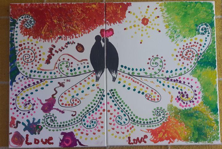 Lovebirds on 2 canvas as 1 - Menna