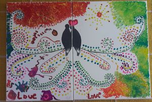 Lovebirds on 2 canvas as 1