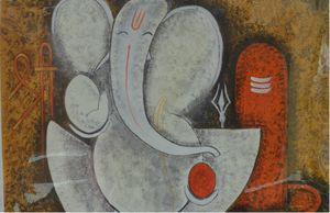 Lord Ganesha with Lord Shiva in back