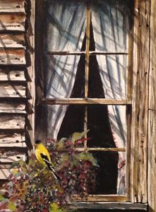 Goldfinch and pokeberries - Raymond L. Reid
