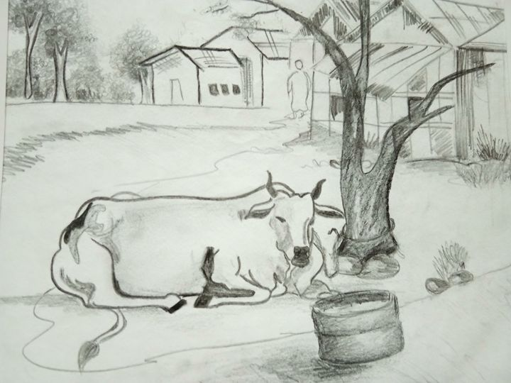 A cow near a tree - S.creations