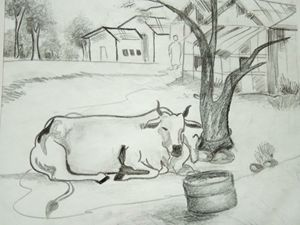 A cow near a tree