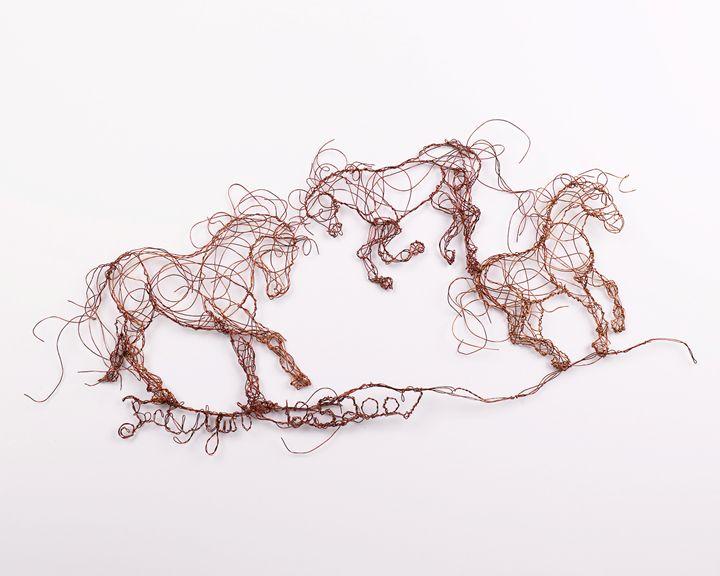 Three horses dancing 12.5.2007 - HorsewiredrawingsbyBecky
