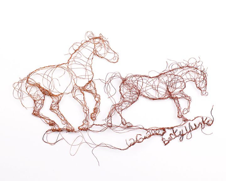 Two horses running 12.6.2007 - HorsewiredrawingsbyBecky