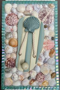 Flip Flop w/Seashells Hook Hanger #1 - The Mosaic Maniac