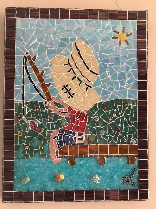 SOLD Fishing Boy on Pier - The Mosaic Maniac