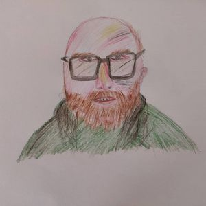 Bald guy with glasses