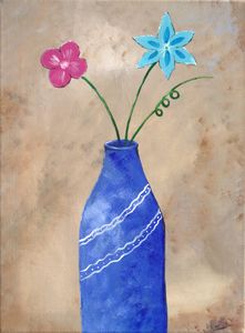 Two Flowers in a Blue Vase