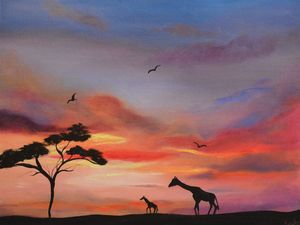 Two Giraffes and a Sunset