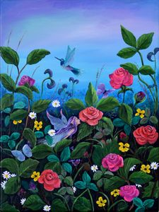 Fairy and Hummingbird in Garden - Karen Lancaster Art
