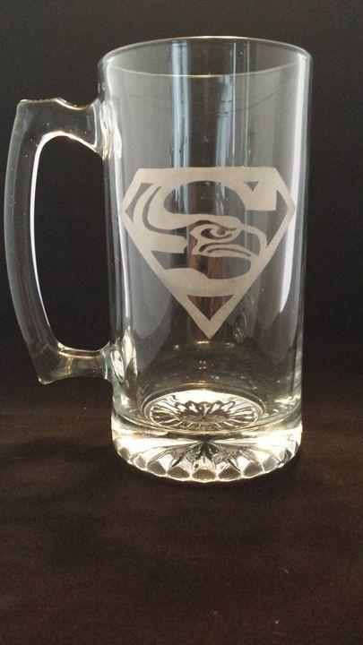 Seahawk Superman Mug - Fun Etched Glass