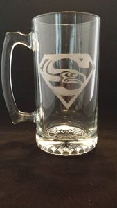 Seahawk Superman Mug - Fun Etched Glass