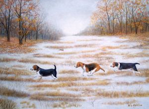 Three Beagles and a Bunny - RaVell Fine Art Studio