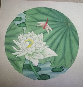 Green lotus painting 500*500
