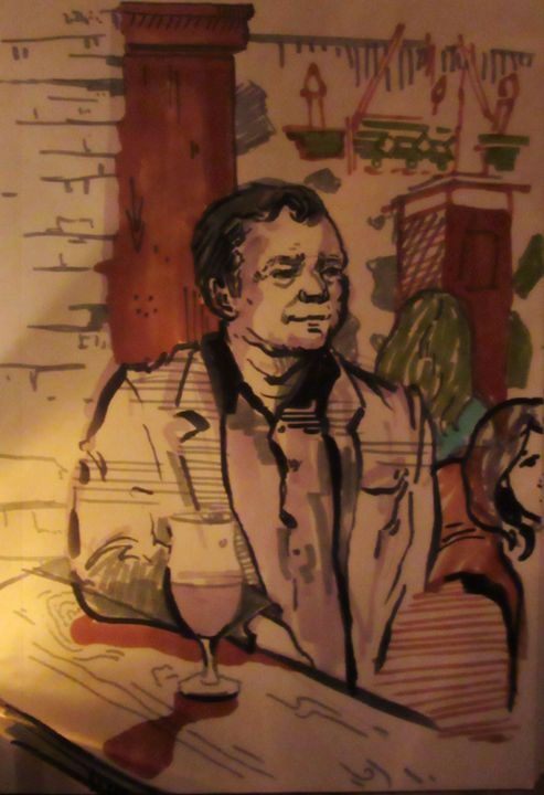 Man in Cafe Stofan, Iceland - Cooper's Illustration