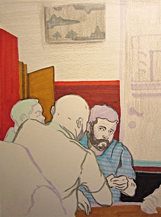 Sushi in Berlin, deep conversation - Cooper's Illustration