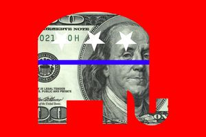 $100 Bill in Form of GOP Republican