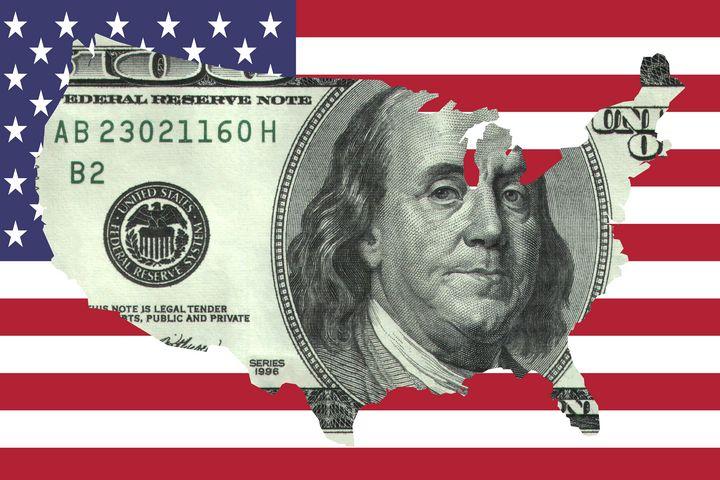 $100 Bill United States on Flag - Brian Kindsvater Art