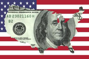 $100 Bill United States on Flag