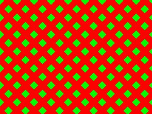 Green Diamond on Red Print