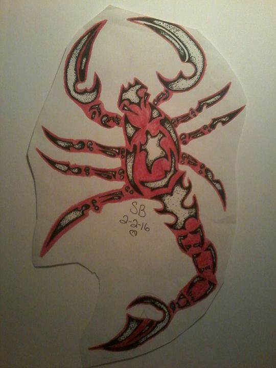 Tribal red scorpion - Sabrina's paintings